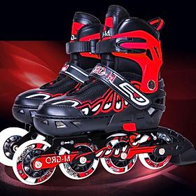 Giày trượt patin trẻ em bánh cao su phát sáng với 3 màu Xanh, Đỏ, Hồng cho bé trai và bé gái từ 3-12 tuổi