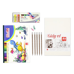 [Tặng ấn phẩm vẽ] Bộ giấy, màu vẽ cơ bản Hồng Hà| Vở, giấy vẽ A4, 5 bút chì gỗ có tẩy và hộp 16 màu phấn dầu Pentel PHN-16 61185