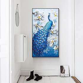 5D Peacock Diamond Embroidery Full Rhinestone Cross Stitch Painting Home Hotel Decoration Gift (Blue without Frame)