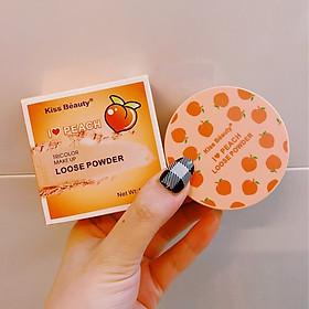 Một Hộp Phấn Phủ Dạng Bột Ba Ngăn Kiss Beauty Peach Tặng Kèm Bông Phấn-5