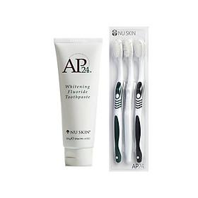 Kem đánh răng trắng sáng AP24 Whitening Fluoride Toothpaste (Tặng 3 bàn chải AP24 chuyên dụng)