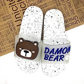 15T042-Dép cao su quai ngang mang trong nhà nam nữ chống trơn trượt hình chú gấu Damon Bear đi chơi đi học siêu êm chân, siêu dễ thương