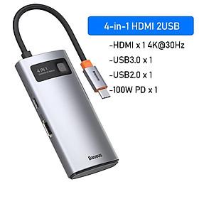 Hub chuyển đa năng Baseus Metal Gleam Series Multifunctional Docking Station ( Type-C to HDMI/ USB3.0/ LAN / SD Card Reader/ Type C PD 100W, Multifunctional HUB) - Hàng Chính Hãng