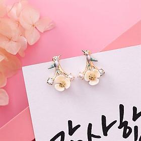 Bông tai nữ - Hoa vành tai Lily chim sẻ 2 kiểu đeo - Màu hồng