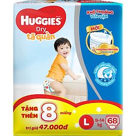 Tã Quần Huggies Dry Pants Super Jumbo L68 (9 - 14 kg)  - Gói 68 Miếng - [Tặng Thêm 8 Miếng Mỗi Gói ]