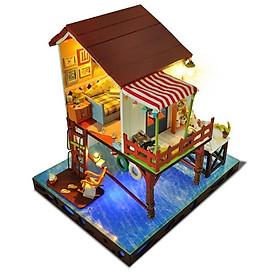 Hình đại diện sản phẩm Mẫu biệt thự nhà gỗ búp bê I-DIY phong cách phóng khoáng tự do giữa biển cả - Summer Sunset Sky