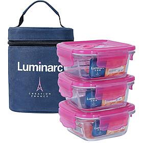 Bộ 3 Hộp Đựng Cơm Thủy Tinh Luminarc Pure Dahlia Vuông có túi LUHON8744 (3 Hộp 380ml)