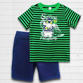 Quần áo bé trai thương hiệu TAMOD sọc ngang xanh két in hình thủy thủ dễ thương.