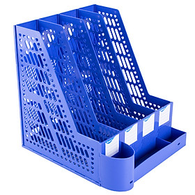 Guangbo (GuangBo) thick quadruple file frame / data frame with pen holder / office supplies blue WJK9267-L