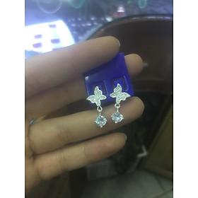 Khuyên tai bướm thả rơi viên đá nhỏ nhân tạo bạc ta xinh
