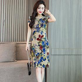 Đầm suông nữ hoa lá, đầm trung niên mặc hè AH110