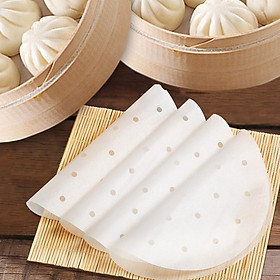 400pcs Disposable Round Perforated Steamer Paper Kitchen Steamer Liners Baking Mats for AirFryer
