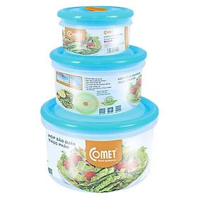 Bộ hộp nhựa đựng thực phẩm COMET 3 hộp tròn - CH1616B (Màu ngẫu nhiên)