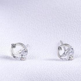 Khuyên tai  bạc xinh - Bông tai Bạc Nữ  925  hình tròn đính đá