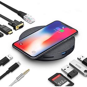Bộ Hub đa năng QGeeM USB C 11 trong 1  gồm HDMI 4K, VGA, 3 x USB 3.0, 87W PD 3.0, Ethernet, đầu đọc thẻ SD/TF, Audio/Mic, tương thích với MacBook Pro và các thiết bị Type C-Hàng Chính Hãng