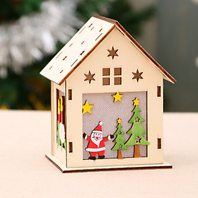 Xmas Luminous Wooden House Hotel Christmas Tree Window Decoration Pendant Ornaments DIY Gift