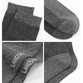 Langsha socks men's cotton tube mesh cotton socks spring and summer ultra-thin breathable socks black 6 pairs of code