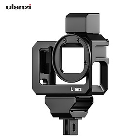Ulanzi G9-5 Action Camera Video Cage Metal Vlog Case Protective Housing with Dual Cold Shoe Mount 52mm Filter Adapter