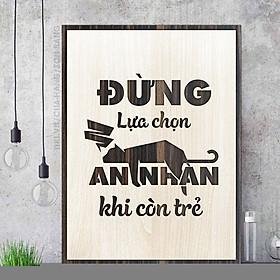 Tranh slogan treo tường tạo động lực học tập bằng gỗ TBIG016: Đừng lựa chọn an nhàn khi còn trẻ