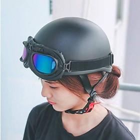 Hàng chính hãng, mũ bảo hiểm 1/2 màu trơn SRT kèm kính phi công xốp ép nhiệt - khóa đỏ