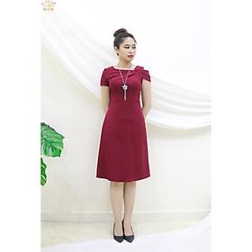 Đầm Thiết kế Đầm xòe Đầm thời trang công sở Đầm trung niên thương hiệu TTV387 đỏ đô - Đầm from A phối nơ rớt vai bên trái CT