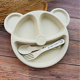 Khay ăn dặm cho bé kèm muỗng, nĩa, phù hợp cho bé ăn theo phương pháp BLW, khay ăn dặm lúa mạch đựng đồ an toàn, tiện dụng - ĐƯỢC CHỌN MÀU
