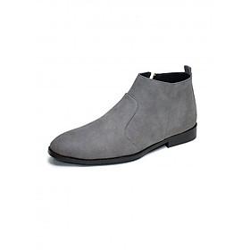 Giày Chelsea boot cổ khóa da buck màu xám chuột (CB523)