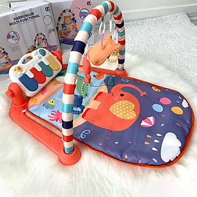 Thảm nhạc nằm chơi cho bé từ sơ sinh đến 24 tháng, phát nhạc, có khung treo đồ chơi, vải thông thoáng, êm ái