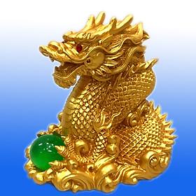 Tượng Rồng Vàng Ôm Châu 12 cm , Rồng  Linh Vật Phong Thủy Biểu tượng cho Sức Mạnh, Uy Quyền, Giàu Có TPT079
