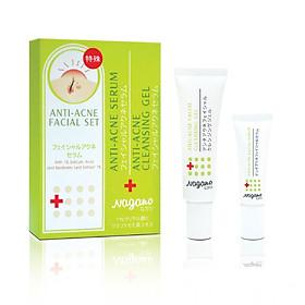 Combo Gel Rửa Mặt (30ml) Và Serum Trị Mụn Nagano (10ml) - Anti-Acne Serum 10ml & Anti-Acne Cleansing Gel 30ml -  Combo điều trị và dưỡng da mụn