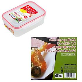 Combo hộp đựng khóa chặt chịu được nhiệt trong lò vi sóng 700ml + 40 giấy thấm dầu mỡ đồ chiên rán nội địa Nhật Bản