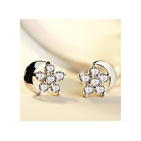Hình đại diện sản phẩm Bông tai bạc 925 cao cấp Vũ khúc tình yêu, khuyên tai bạc nữ đính đá, hoa tai, bông tai nụ trăng sao BT05
