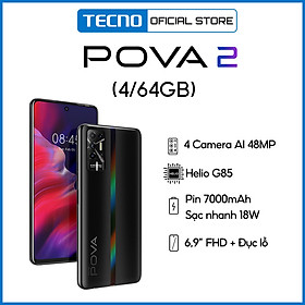 Tecno Pova 2 4GB l 64GB - Điện Thoại Thông Minh Chiến Game Cực Đỉnh - Hàng Chính Hãng