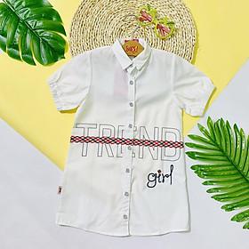 Đầm Sơ Mi Bé Gái Cotton Dáng Suông Trend Thêu Chữ Girl - Thắt Lưng Giả - Màu Trắng Và Hồng Cho Bé Từ 15 Đến 55 Kg YF 9DX547 - Giao Màu Ngẫu Nhiên