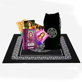 Combo Bộ Bài Bói Tarot Keepers of the Light Oracle Cards Cao Cấp và Túi Nhung Đựng Tarot và Khăn Trải Bàn Tarot