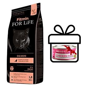 Thức Ăn Được Chế Biến Từ Thịt Tươi Cho Tất Cả Các Giống Mèo Trưởng Thành Fitmin Cat For Life Salmon 1.8KG - TẶNG 1 Lon Pate Tươi Hello Cat Pate 190G