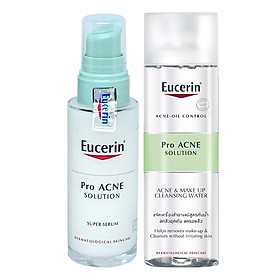 Bộ Serum Trị Mụn Eucerin ProAcne Solution Super Serum (30ml) Và Nước Tẩy Trang Da Mụn Eucerin Pro ACNE Solution Acne & Make-up Cleansing Water (200ml)