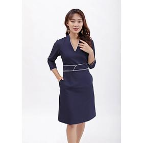 Váy đầm dáng ôm thời trang Eden cổ v tay lỡ viền màu, kiểu dáng sang trọng, chất liệu mềm mại không nhăn - D390