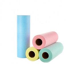 Cuộn khăn vải không dệt lau nhà bếp đa năng 50 miếng-màu ngẫu nhiên