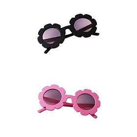 2 Pieces Kids Vintage Flower Eyewear Sunglasses UV400 Shades For Girls Boys