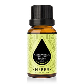 Tinh Dầu Sả Java Citronella Essential Oil Heber | 100% Thiên Nhiên Nguyên Chất Cao Cấp | Nhập Khẩu Từ Ấn Độ | Kiểm Nghiệm Quatest 3 | Xông Thơm Phòng | Hương Dịu Nhẹ