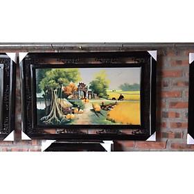 Tranh gốm treo tường vẽ cảnh làng quê gốm sứ Bát Tràng