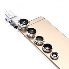 5-in-1 Smartphone Camera Lens Kit with 0.67X Wide-angle & Macro Lens + 180° Fisheye Lens + 2X Telephoto Lens + CPL Lens
