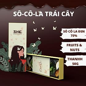 Socola Trái Cây Thanh 50g SHE Chocolate - Socola năng lượng, ít ngọt, đậm đà vị socola nguyên chất