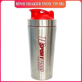 Bình lắc Shaker bằng INOX pha sữa cho người tập GYM hiệu TCSPORTFOOD - Bình nước thể thao Shaker 739 ml - Bình Trắng Bạc Nắp Đỏ