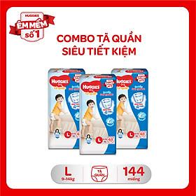 Combo 3 Gói Tã Quần Huggies Dry Gói Đại L48 (48 Miếng)