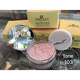 Phấn phủ bột kiềm dầu Aroma Candy Shine Powder Hàn Quốc 10g No.103 Da trắng hồng tặng kèm móc khoá-3