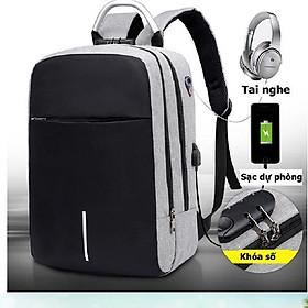 Balo laptop 15.6 inch đi học thời trang, balo mã khóa chống nước có phản quang, balo giặt được máy giặt.