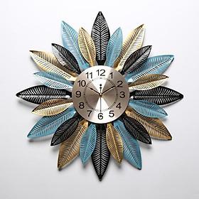 Đồng hồ trang trí hình lá xếp hoa/ đồn hồ handmade treo tường gắn phù điêu hình hoa DH-DH2043