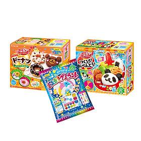 Combo 3 hộp kẹo sáng tạo popin cookin : cơm bento + bánh donut + thế giới sắc màu